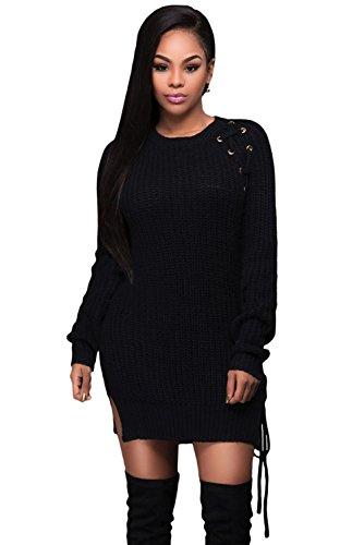Byy Black Knit Lace Up Side Long Sleeves Sweater Dress Black L