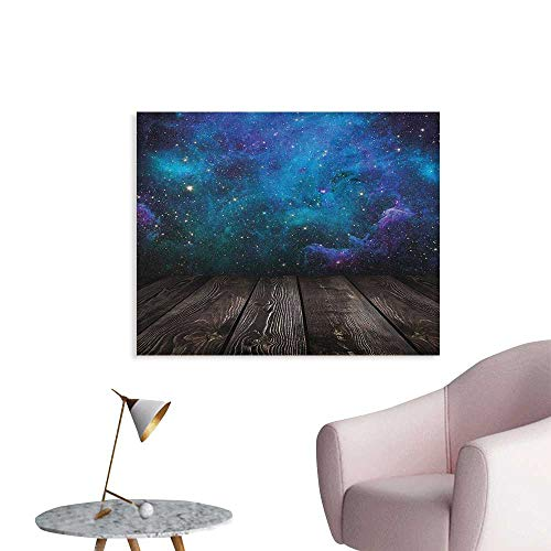 Anzhutwelve Galaxy Photographic Wallpaper Outer Space View from Rustic Wooden Deck Blue Nebula Star Magical Night Space Poster Black Blue Brown Purple W36 xL32 ()