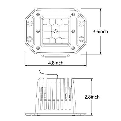 Quad Row LED Pods, AKD Part 2pcs 84W LED Flush Mount Pods 5 inch Spot Beam Philips LED Light Bar LED Work Light Driving Lights Super Bright Fog Light Off Road Lights for Truck Bumper Boat: Automotive