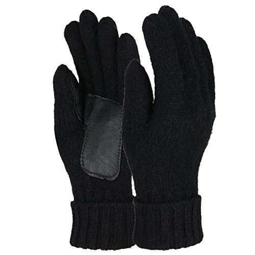 Sudawave Men's and Women's Knitted Wool Gloves with Leather Patch on Palm Micro Fleece Lined Warm Winter Gloves (Black)