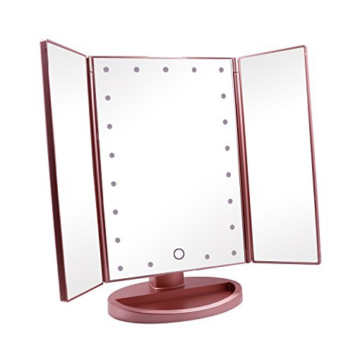 Coles Organic Supplies 24 TRI Fold Lighted Vanity LED Makeup Mirror (Rose) Panel Folding Bath Screen
