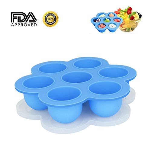 Himetsuya Silicone Egg Bites Molds for Instant Pot, Sous Vide Egg Bites Container FDA Approved Baby Food Storage Tray with Lid, Blue