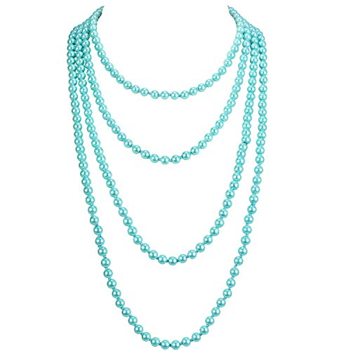 KOSMOS-LI 1920s Retro Faux Pearls Aqua Beads Cluster Long Pearl Necklace 58