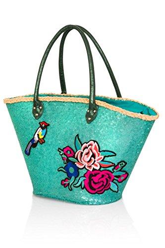 large turquoise Sac femmes Fourre plage toile été varioues sequin Styles tout Shopping pour ffTqrB
