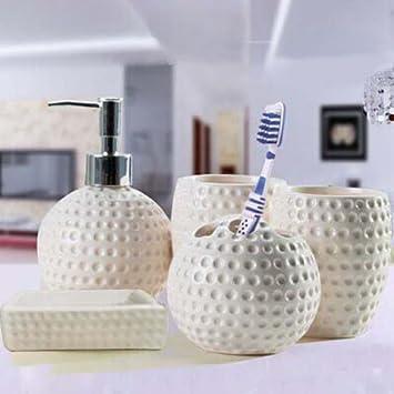 Moderno diseño de 5 piezas de cerámica Set de accesorios de baño, jabonera, porta cepillo de dientes, jabón, blanco: Amazon.es: Hogar