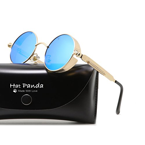 Round Polarized Steampunk Sunglasses Retro John Lennon Sunglasses For Men And Women (Gold & Mirrored Blue, - John Lennon Blue Sunglasses