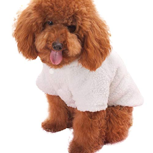 (Lookvv Pet Winter Clothes Plush Puppy Dog Cat Padded Thickening Sheep Costumes Soft Warm Winter Coat White)