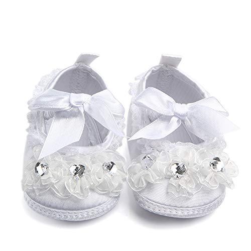 ajzdnzvr 1 Pair Infant Satin Shoes Christening Baptism Ballerina Anti-Skid Slipper for 0-9 Months Baby Girl Size 11.5cm (White Little Flower)