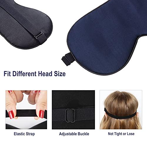 DicDok Silk Sleep Mask Adjustable Strap Natural Mulberry Silk Eye Mask for Sleeping Travel Nap Blindfold Eyemask for Women and Men (Navy Blue)
