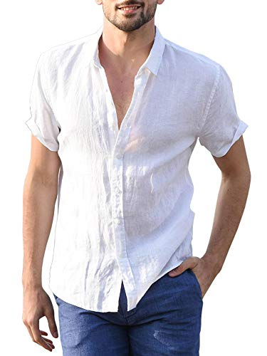 Mens Short Sleeve Shirts Botton Down Tops Fishing Tees Spread Collar Plain Summer Blouses ()