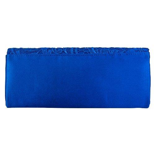 bleu Pochette satin bleu pour marine en fleuri à soirée de femme motif en dentelle 7xawTr7qU