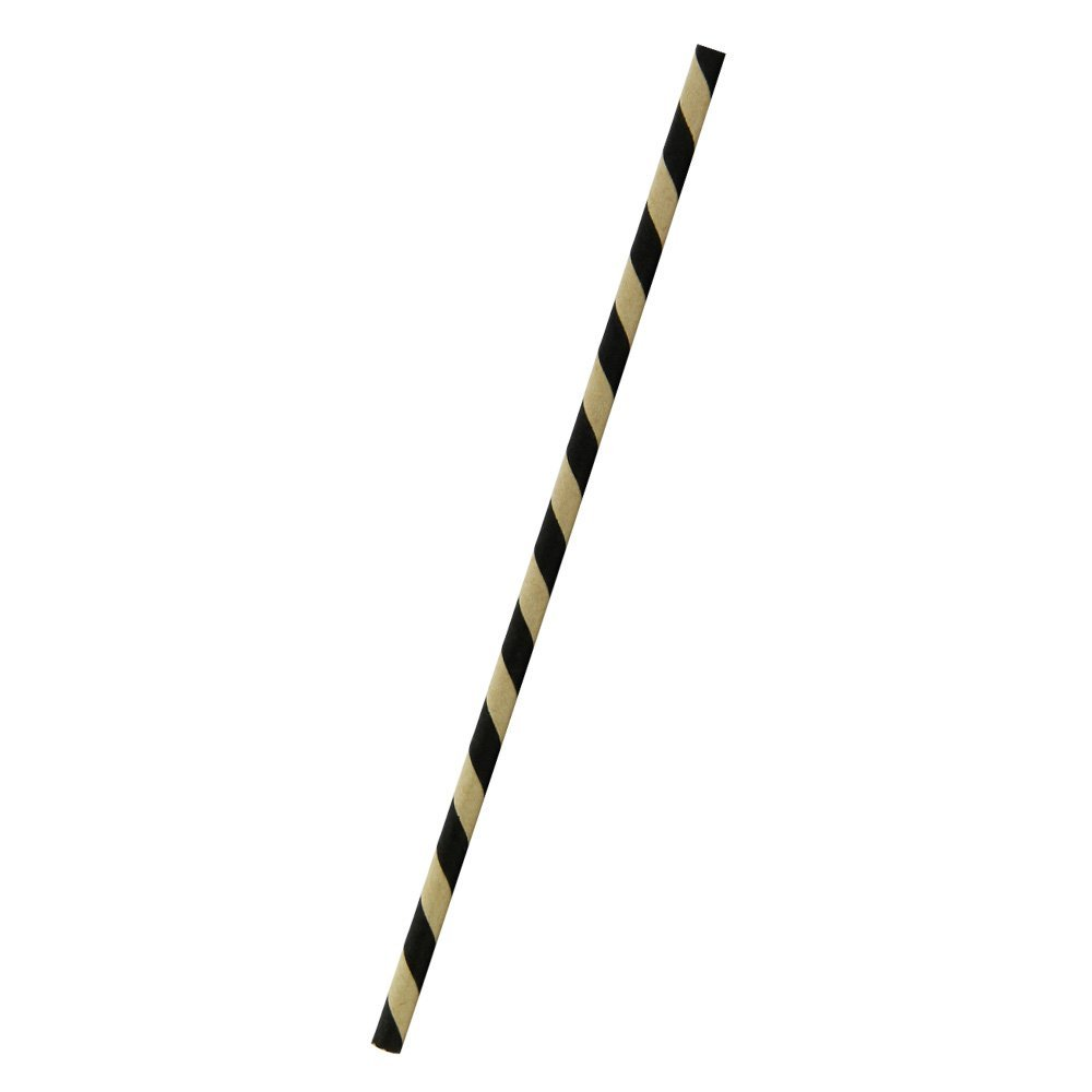 PacknWood Individually Wrapped Bee's Coated Paper Party Straws, 8.3'' Length, Black and Kraft Striped (Case of 3000)