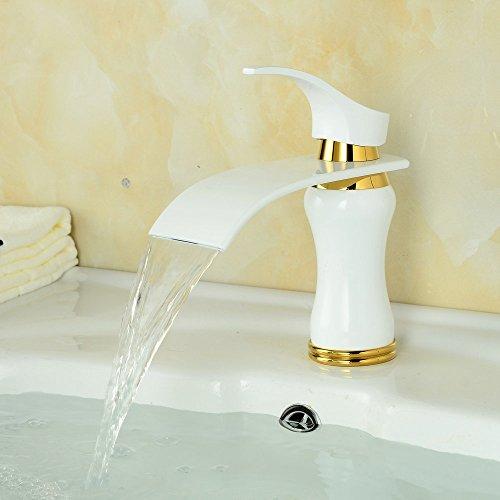 Beelee Elegant Weiß Wasserhahn Bad Waschtisch Waschbecken Armatur  Einhebelmischer Mischbatterie Waschtischarmatur Wasserfall  Waschbeckenarmatur Badarmatur ...