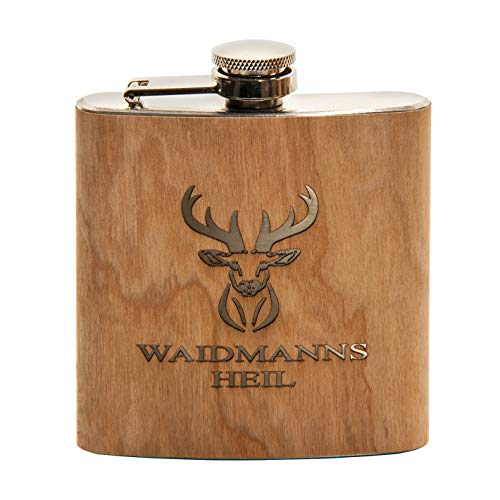 Outdoordino Flachmann Waidmannsheil van roestvrij staal met gravure, cadeau voor jagers, jagers, heupflessen van hout…