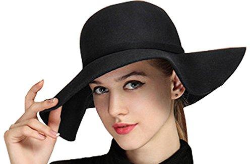 Bienvenu Women's Wide Brim Wool Ribbon Band Floppy Hat Black (Santa Claus Cap)