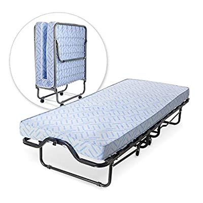 Milliard Lightweight Folding Bed with Mattress - Cot Size -74 by 31-Inches
