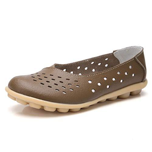 Femme Pour Légères En Plates Confort Mocassins Marron Cuir Chaussures Perforations Truland 5YxwEqq
