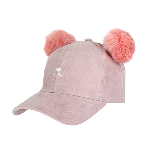 Suede Kitty (The Cat's Meow: Cute Kitty Ears Vegan Suede Dad Cap- Double Pom Pom Baseball Hat (Blush))