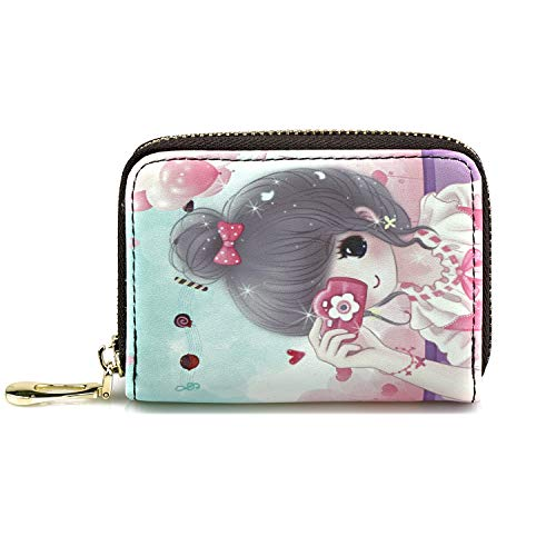 Women Credit Card Holder Wallet Girl Leather Multi Zipper Coin Purse