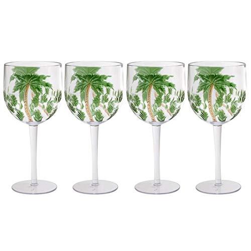 Coastal Living Seascapes Havana Palm Tree Acrylic Wine Glasses, Set of - Tree Palm Acrylic