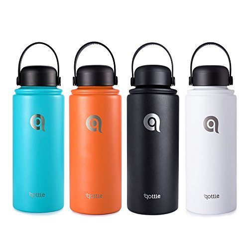 qottle Insulated Water Bottle Double Wall Vacuum Insulated Stainless Steel Water Bottle for Hot and Cold Leak Proof Flask Double-Wall Vacuum Insulated Travel Flask for Gym Hiking Camping Travel Office Outdoor Sports-White