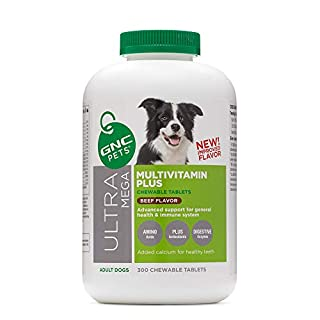 GNC Pets Ultra Mega Multivitamin Plus Chewable Tablets Supplement for Dogs, 300 Count - Beef Flavor | Advanced Support for General Health & Immune System (FF13766)