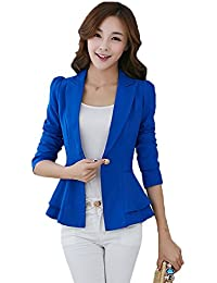 My Wonderful World Womens Casual OL Candy Color Slim Fit Lapel Office Blazers