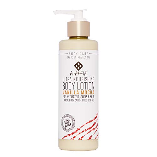 Alaffia - Cocoa and Shea Intensive Body Lotion, For Dry and Extra Dry Skin, Moisturizing Support to Hydrate and Soothe with Shea and Cocoa Butter, Avocado, and Palm Kernel, Vanilla Mocha, 8 Ounces