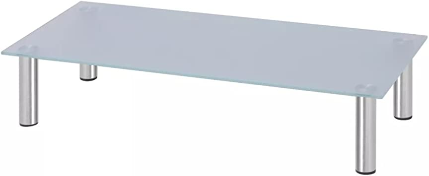 vidaXL Elevador de Monitor/Soporte de TV 80x35x17 cm Cristal Blanco: Amazon.es: Electrónica