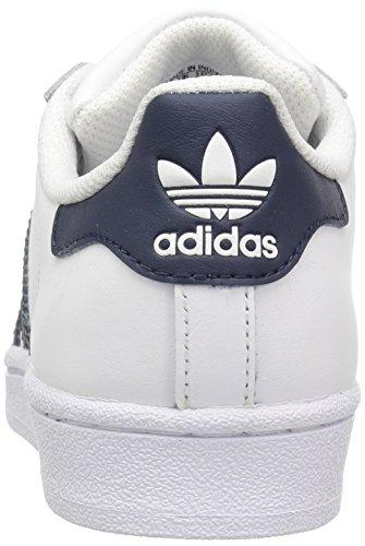 Adidas Originali Superstar Fondotinta J Sneaker Bianco / Blu Scuro / Metallizzato / Oro