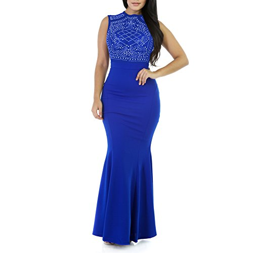 Women Crystal Beading Solid Jersey Evening Dresses Long Fitted Sleeveless Mermaid Prom...