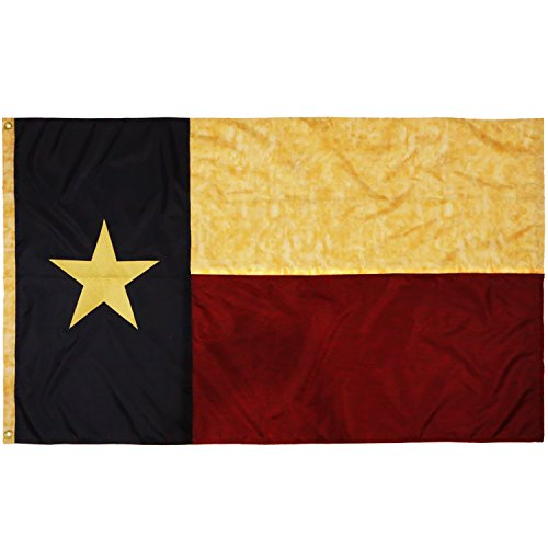 (Anley [Vintage Style Tea Stained Texas State Flag 3x5 Foot Nylon - Embroidered Stars and Sewn Stripes - 4 Rows of Lock Stitching - Antiqued Texan TX State Banner Flags with Brass Grommets 3 X 5 Ft)