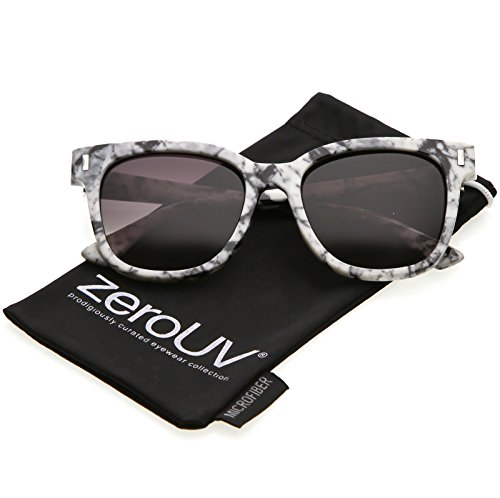 zeroUV - Marble Printed Thick High Sitting Arms Square Horn Rimmed Sunglasses 54mm (Marble / Lavender - Cheap Thick Glasses Rimmed