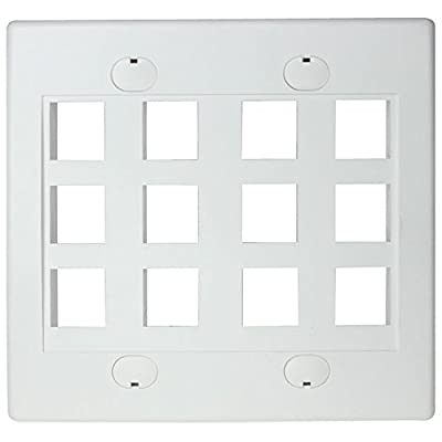RiteAV - Keystone Wall Plate Double Gang 12-Port (1 Piece Flush)