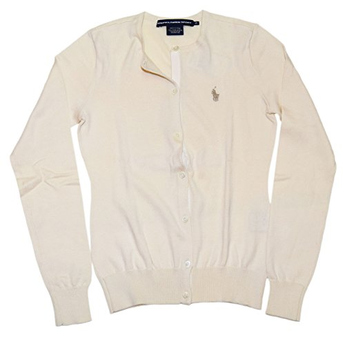(Ralph Lauren Polo Sport Womens Cardigan Pima Cotton Sweater Cream Beige XS)