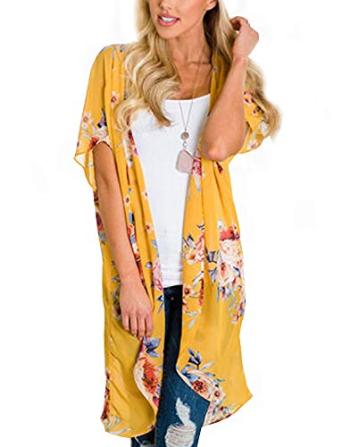 - Summer Chiffon Cardigan Long Kimonos for Women Boho-Chic Style Open Front Cover Ups Floral Kimono Jacket Wraps Tops Capes Shawl (Yellow Small)