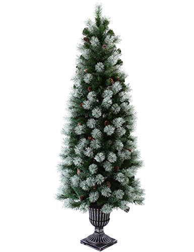 Outdoor Lighted Potted Christmas Trees - 1