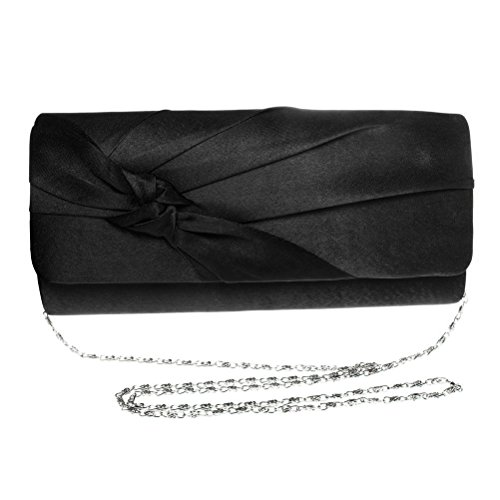 Black Evening Wedding For Purse Clutch Prom Silk Bag Bow Clutch FASHIONROAD Bridal Party qUp6q47w