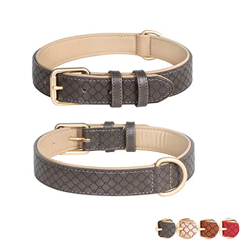 Poohoo Leather Dog Collar Soft & Breathable Padded   Brass Hardware Rust-Proof   Heavy Duty   Lovely Bone Pattern   Classic Pet Collar for Medium Large X-Large Dogs (Medium, Grey)