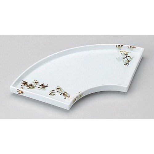 Grilled Fish Plate utw148-11-714 [10.8 x 4.6 x 0.8 inch] Japanece ceramic Aya Kon fan-shaped pottery dish tableware