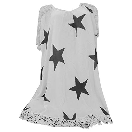 (YKARITIANNA Women Star Pattern 2019 Soft Tops Punk Rock T Shirt Lace Patchwork Floral Blouse Tee White)