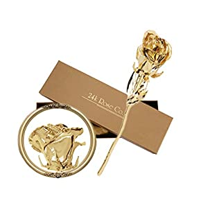 Gifts for Women- Long Stem Dipped 24k Gold Rose in Gift Box- Best Gift for Valentines, Mothers, Anniversary, Birthday Gift and Treating Yourself 107