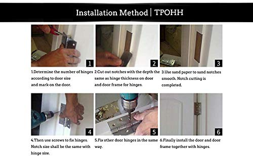 TPOHH Stainless Steel Hinges, 2-Pack 3.5'' X 3.5'' Door Hinge with Brushed Nickel by TPOHH (Image #2)