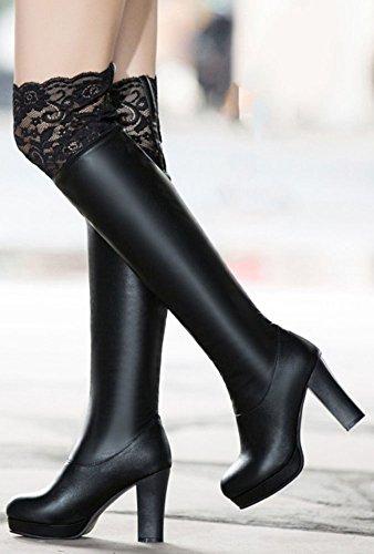 IDIFU Womens Dressy Lace Spliced Chunky High Heel Pull On Platform Over Knee High Boots Black iFtAIdv4