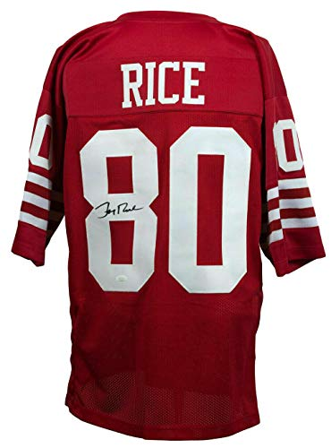 James Autographed Red Custom Jersey - Autographed Jerry Rice Jersey - Custom Red Pro Style 143766 - JSA Certified - Autographed NFL Jerseys