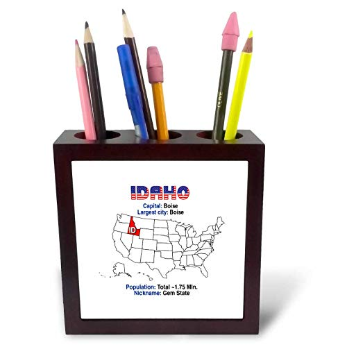 3dRose Alexis Design - American States - Idaho State of The USA, American map, Facts, Useful Details - 5 inch Tile Pen Holder (ph_308186_1) ()