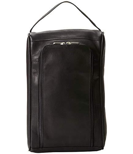 Piel Custom Personalized Leather Golf U-Zip Shoe Bag in Black