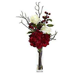 Nearly Natural 1385 Merry Christmas Rose Hydrangea Arrangement, Red 69