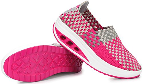 Odema Womens Knitting Platform Shoes Slip On Loafers Fitness Work Out Walking Sneakers Rosered H3TCw