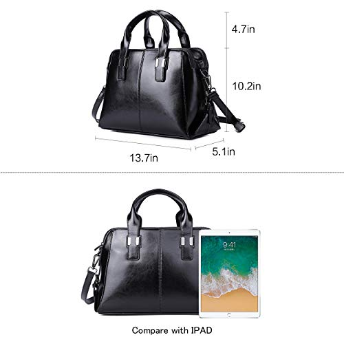 Genuine Leather Handbag for Women Top Handle Satchel Bag Ladies Purses Work Bags 4